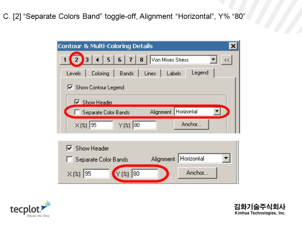 C. [2] Separate Colors Band toggle-off, Alignment Horizontal , Y% 80